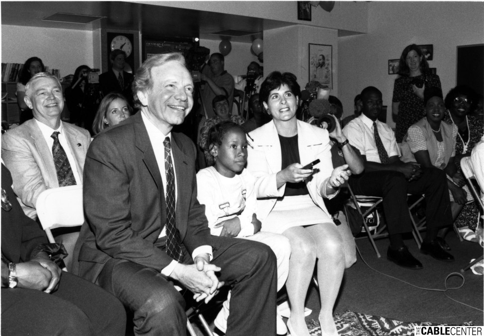 Joe Lieberman watches demonstration of parental controls with ALL TV digital service