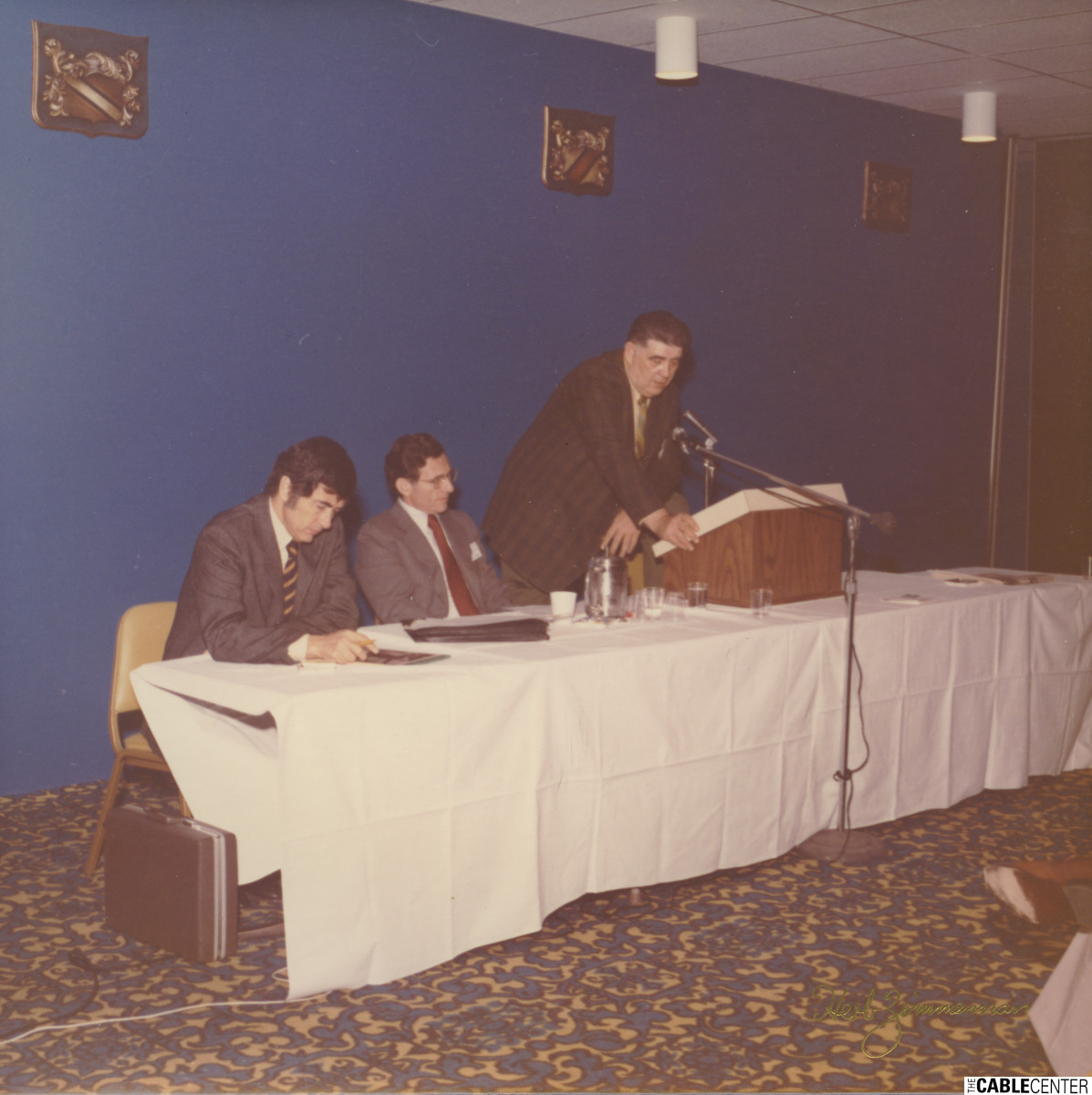 William Kenny at podium, 1973 NECTA convention