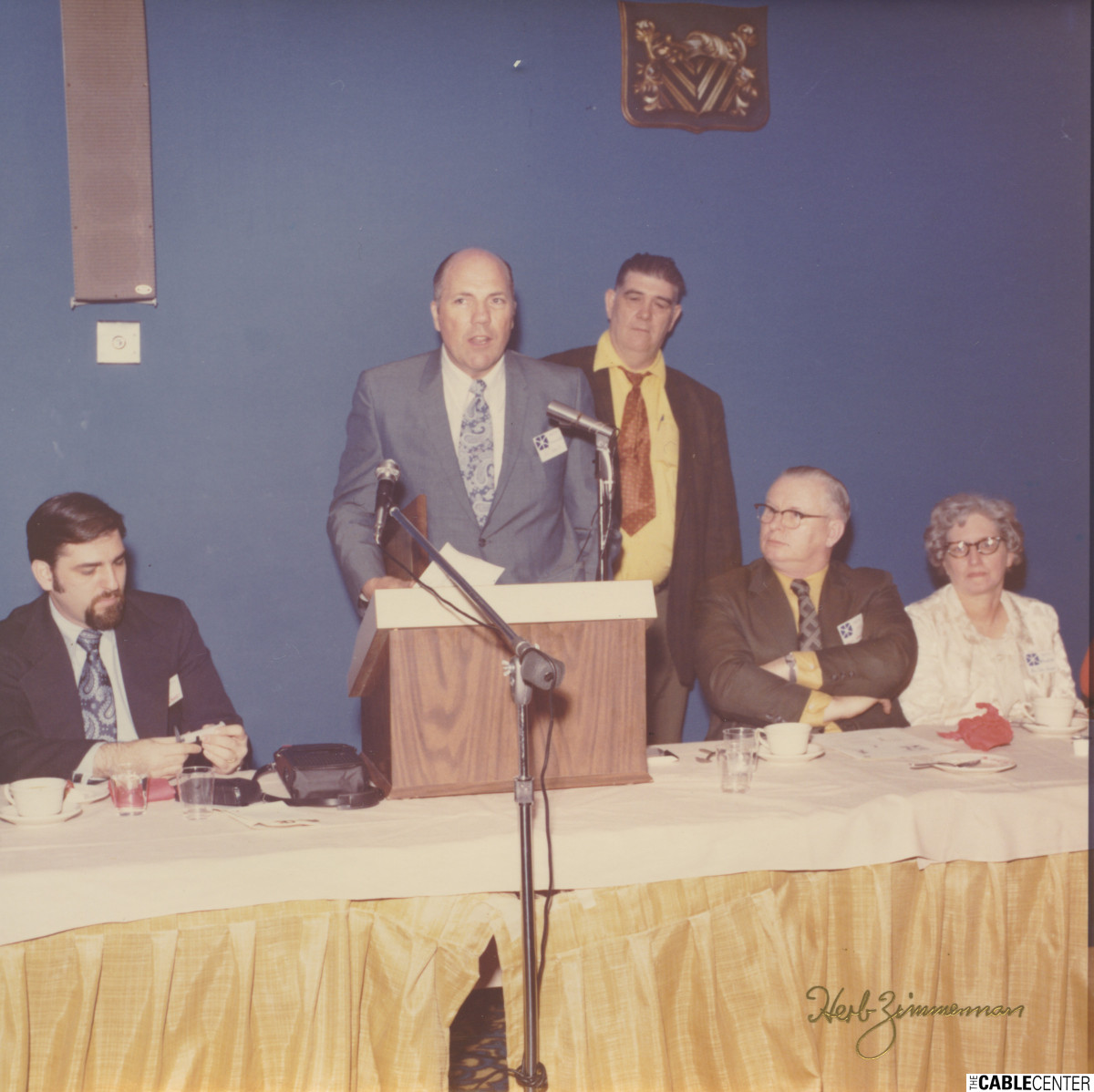 Paul Kagan, Bill Roberts, William Kenny, Owen and Madeline Hannigan at the 1973 NECTA convention