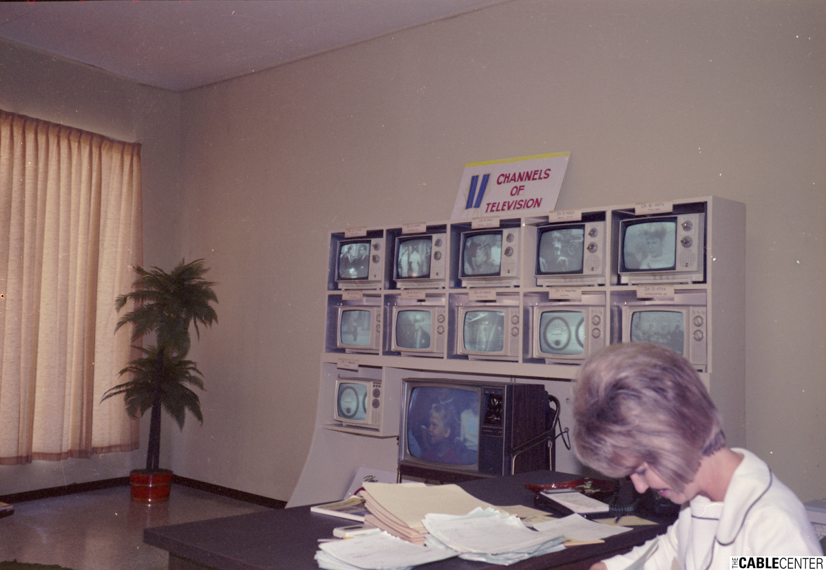 11 Channels of Television display in Ponca City, Oklahoma, cable system office