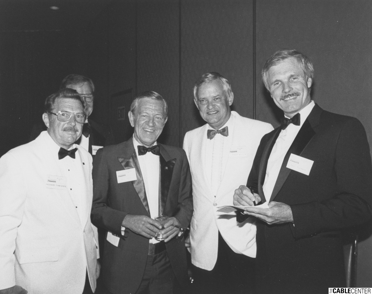 Richard Dressen, Bill Daniels, and Ted Turner at the 1984 Cable Television Pioneers dinner