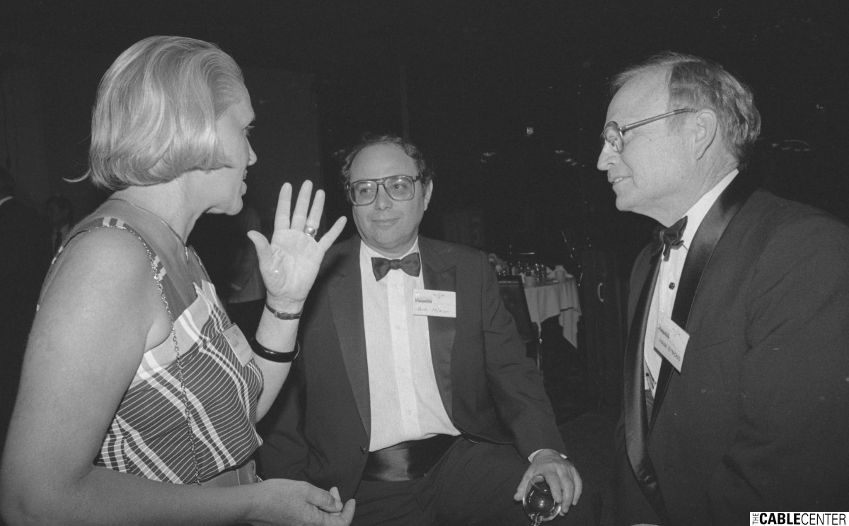 Bob Miron and Hank Symons at 1984 Cable Television Pioneers dinner
