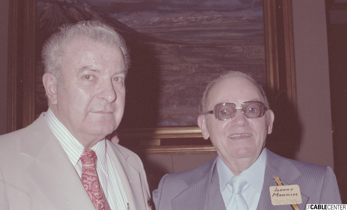 John Walson and Johnny Mankin at the 1978 Cable Television Pioneers dinner