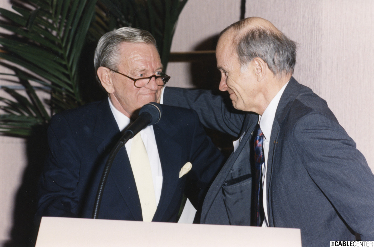 Bill Daniels, left, and Chancellor Dan Ritchie  at the renaming ceremony of the Daniels College of Business