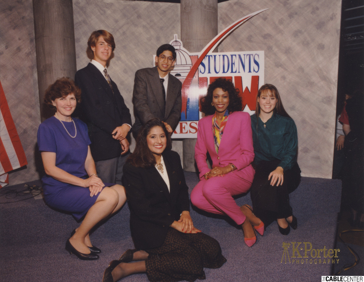 "Staff and participants in CNN/Cox production ""Student's View '92: The Presidency"""