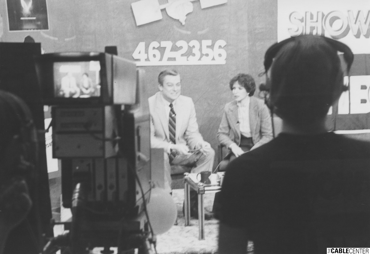 Les Read and Jane Alexander Bulman on set for Metro Vision's HBO/Showtime preview in Lincoln, Nebraska.