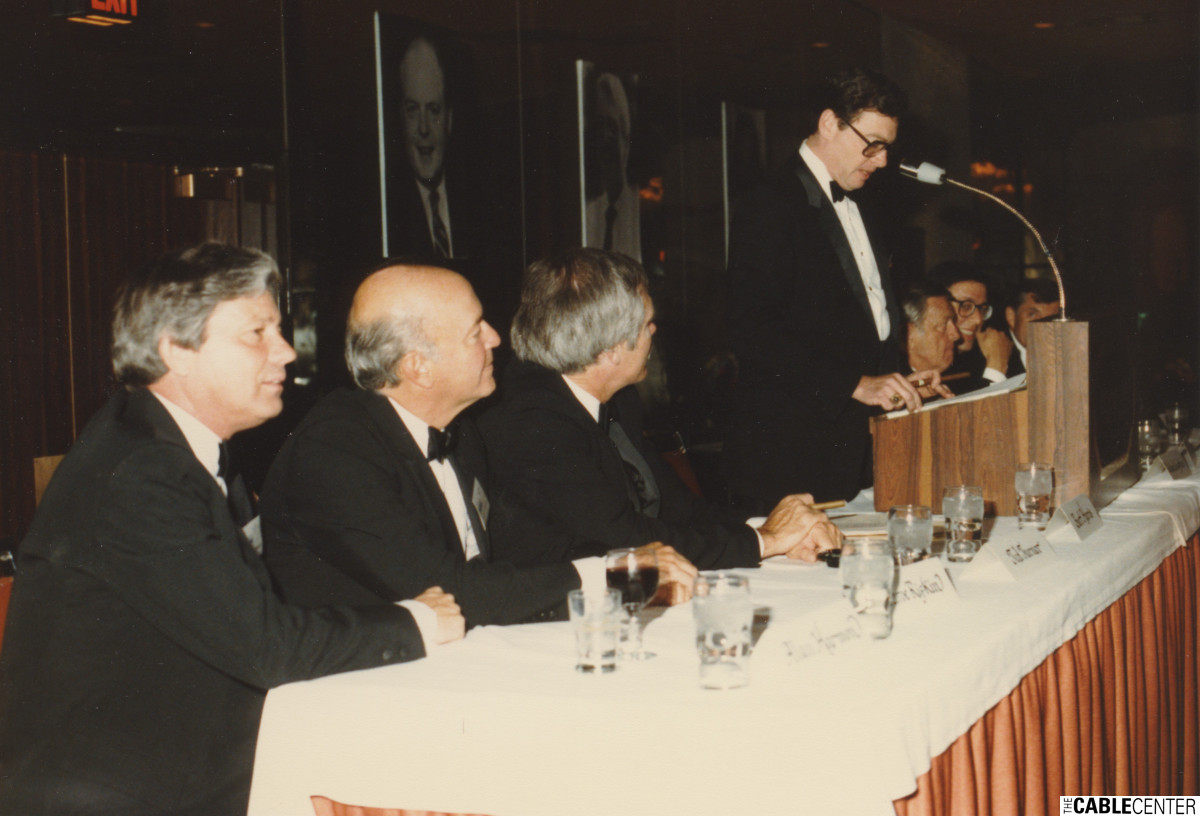 Alan Harmon, Monty Rifkin, Ted Turner and Marc Nathanson, 1984.