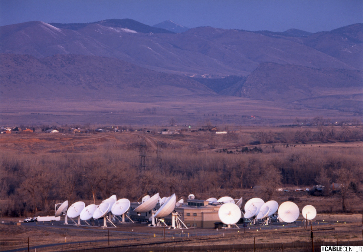 Overall view of the National Digital Television Center in Littleton, Colorado, surrounded by many satellite dish antennas