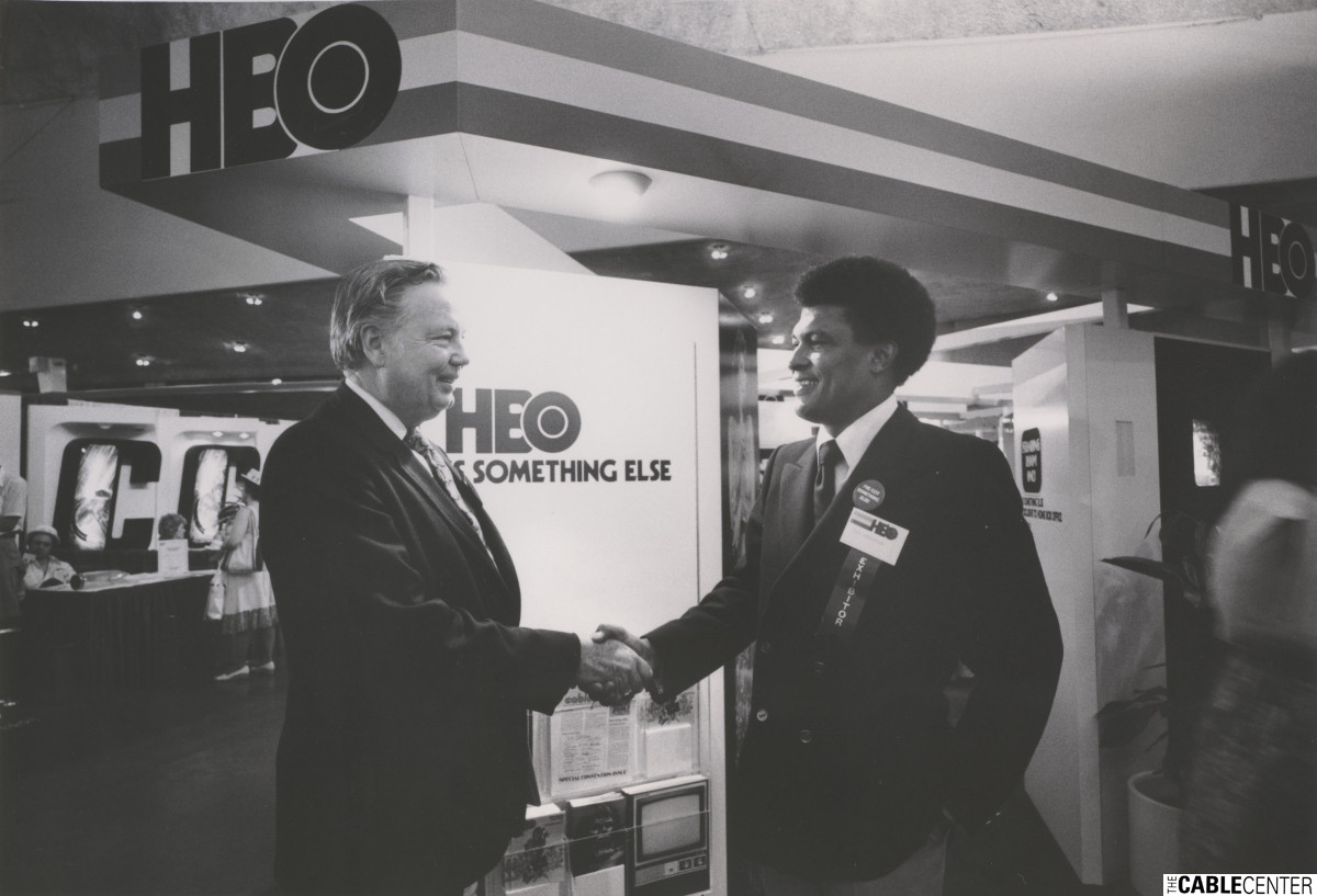 Ed Allen and Don Anderson announce HBO contract with Western Communications in New Mexico