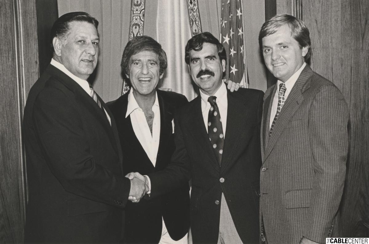 Philadelphia Mayor Frank Rizzo, Soupy Sales, Jerry Levin, and Richard McCaffrey at benefit for Hero Scholarsjip program