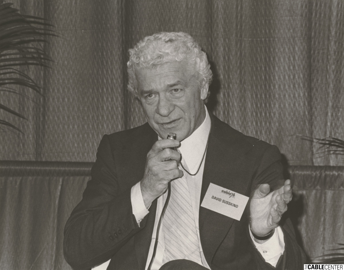 "David Susskind moderates ""The Future of Television"" panel at the 1978 NCTA convention."