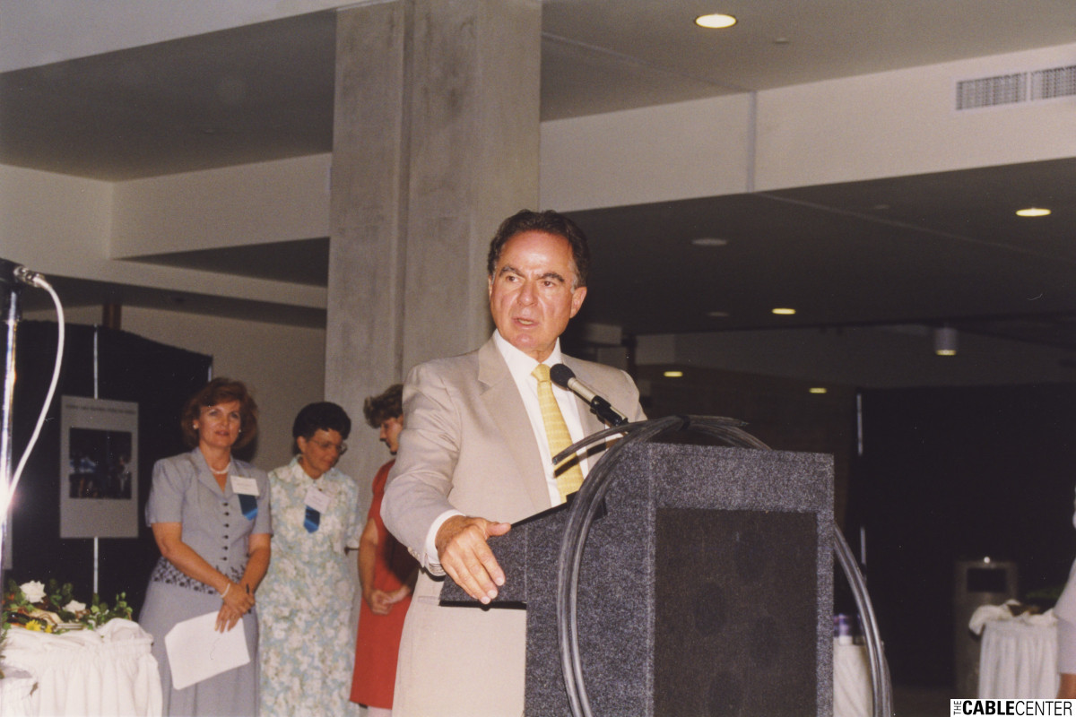 Alan Gerry speaking at the reception for The Cable Center groundbreaking, July 1999