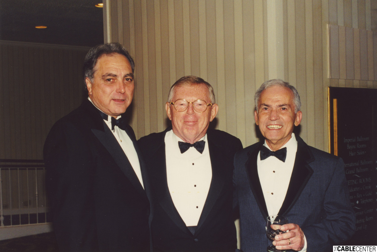 Art Dwyer, Chuck Dolan, Sandy Freeman at the 2000 Cable Television Pioneers dinner and Cable Hall of Fame ceremony