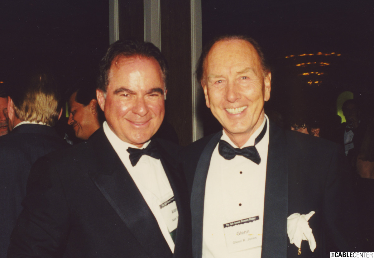 Alan Gerry and Glenn Jones at the 2000 Cable Television Pioneers dinner and Cable Hall of Fame ceremony