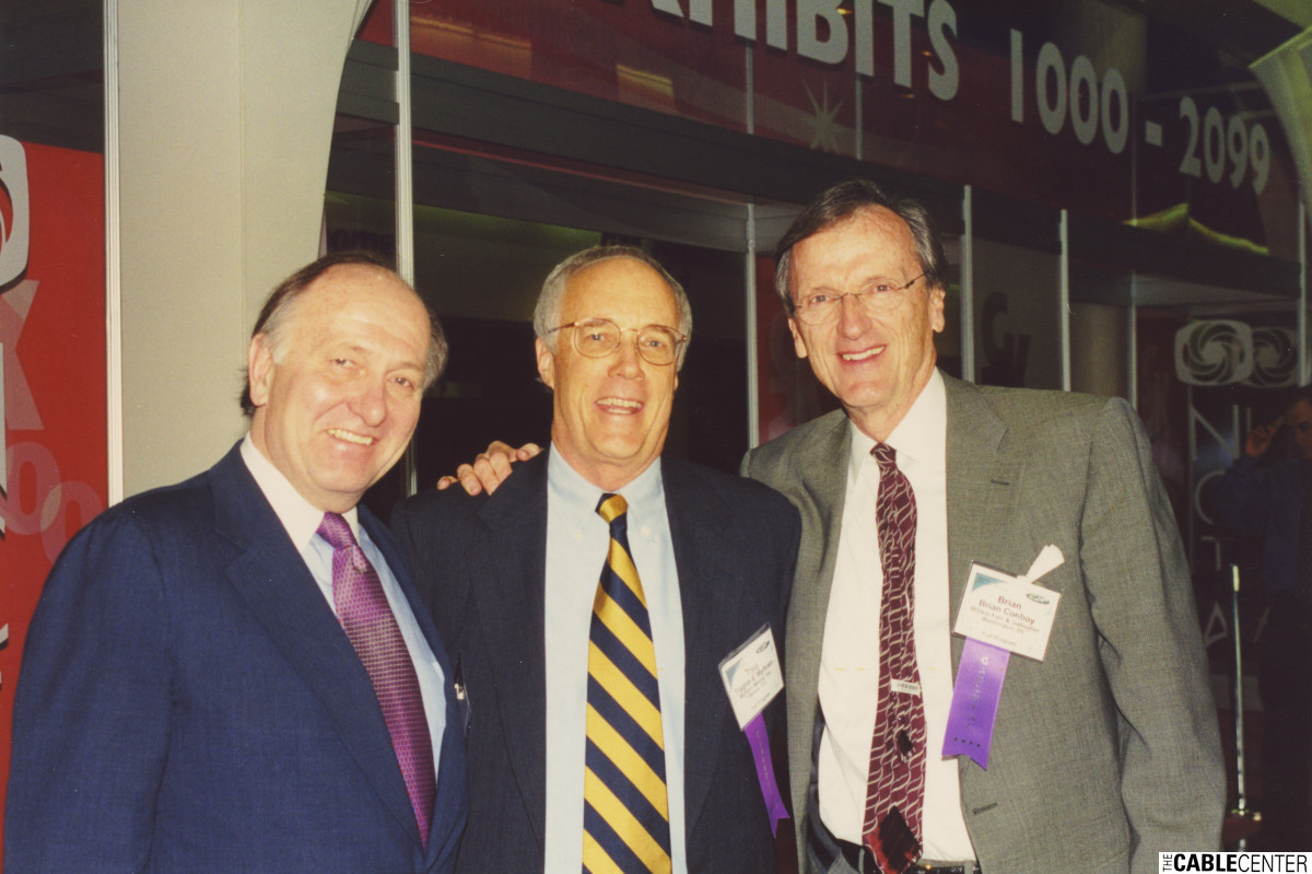 Peter Frame, Trygve Myhren, and Brian Conboy at the 2000 NCTA Cable Show