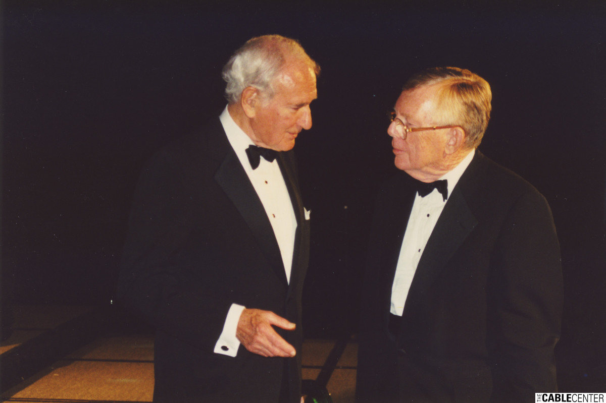 Ralph Roberts and Chuck Dolan at the 2000 Cable Television Pioneers dinner and Cable Hall of Fame ceremony