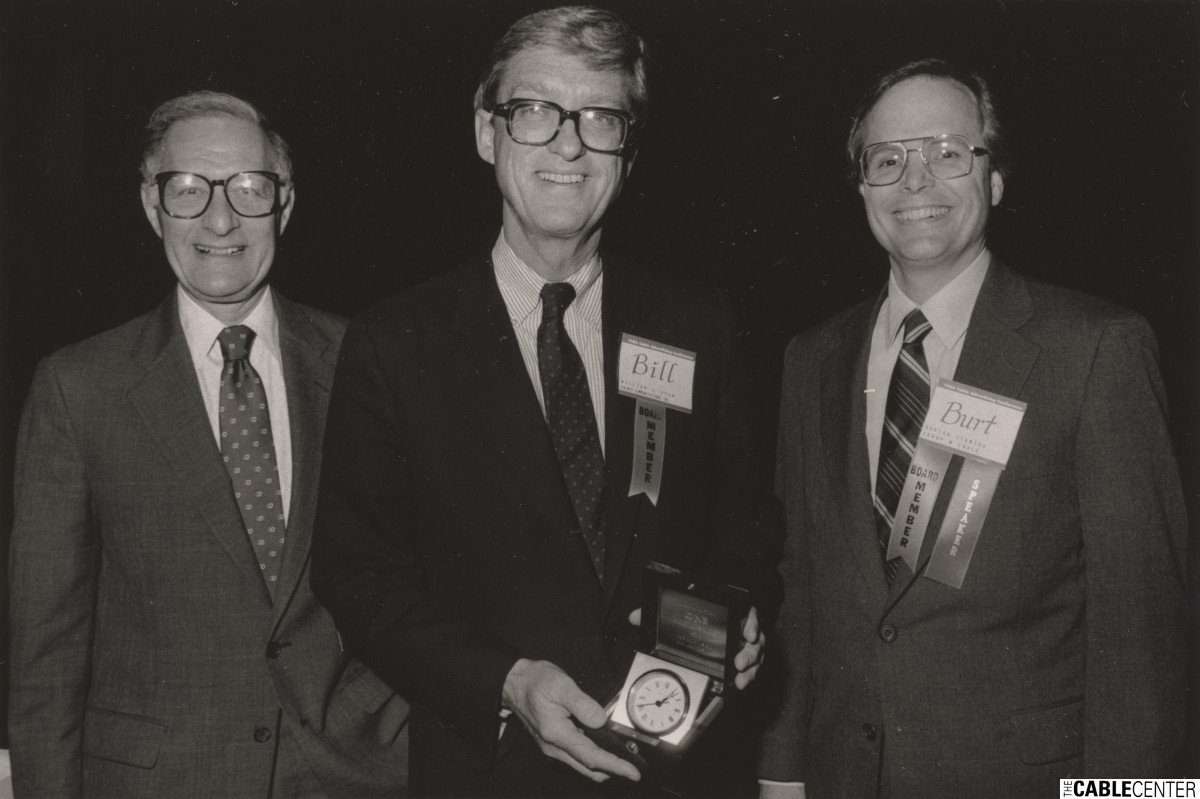 William Ryan receiving the 1986 Cabletelevision Advertising Bureau's Chairman's Award