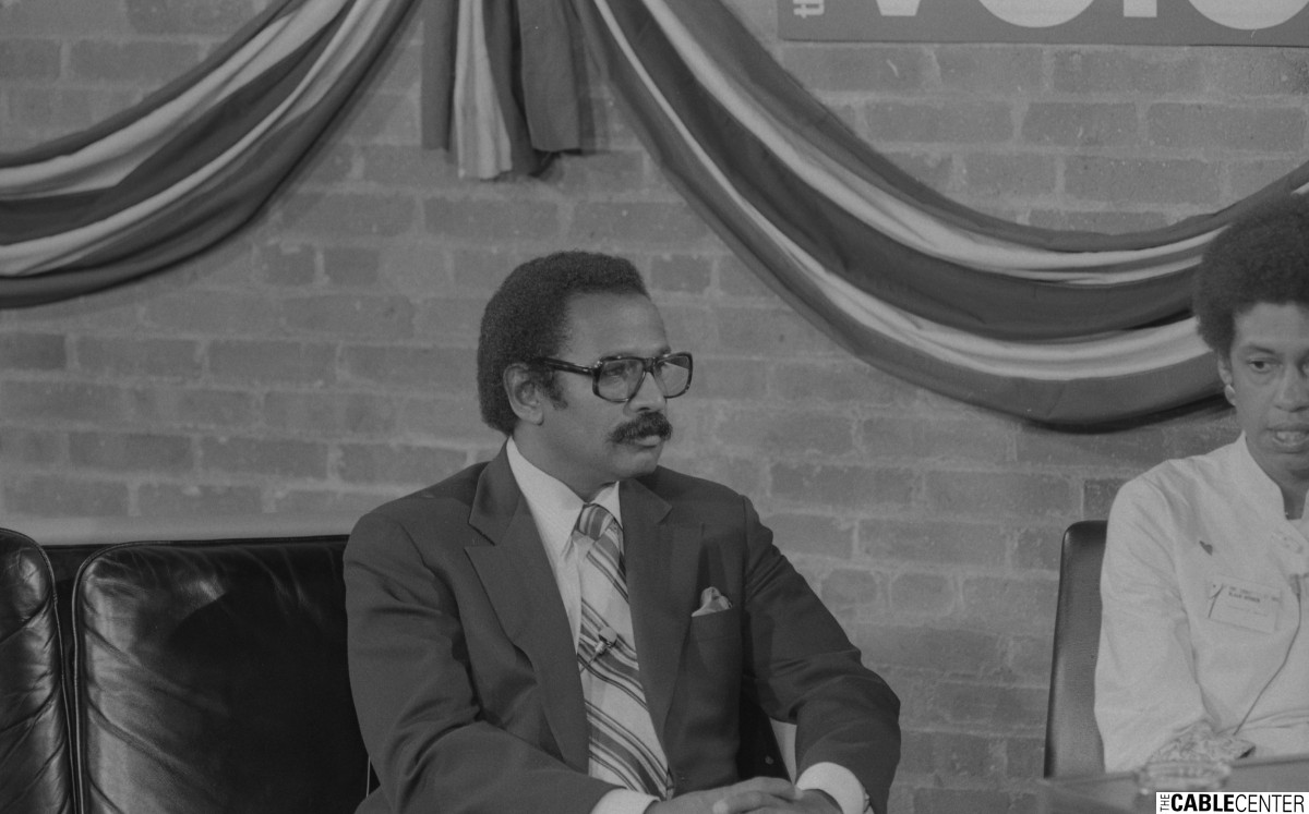 "John Conyers on set of Manhattan Cable's ""Unconvention"" cablecast"