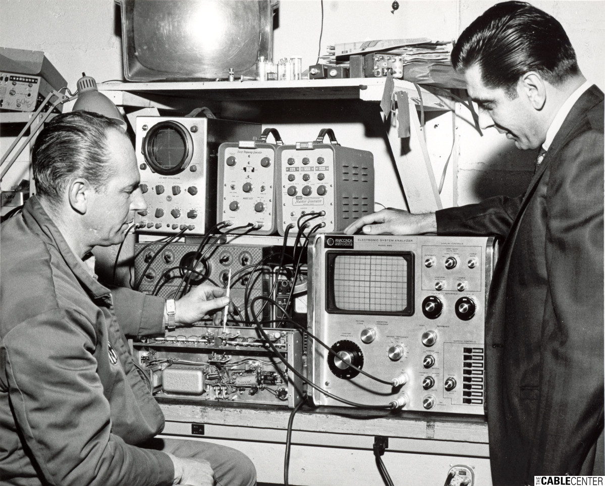 James Duratz and technician at Meadville Master Antenna test bench.