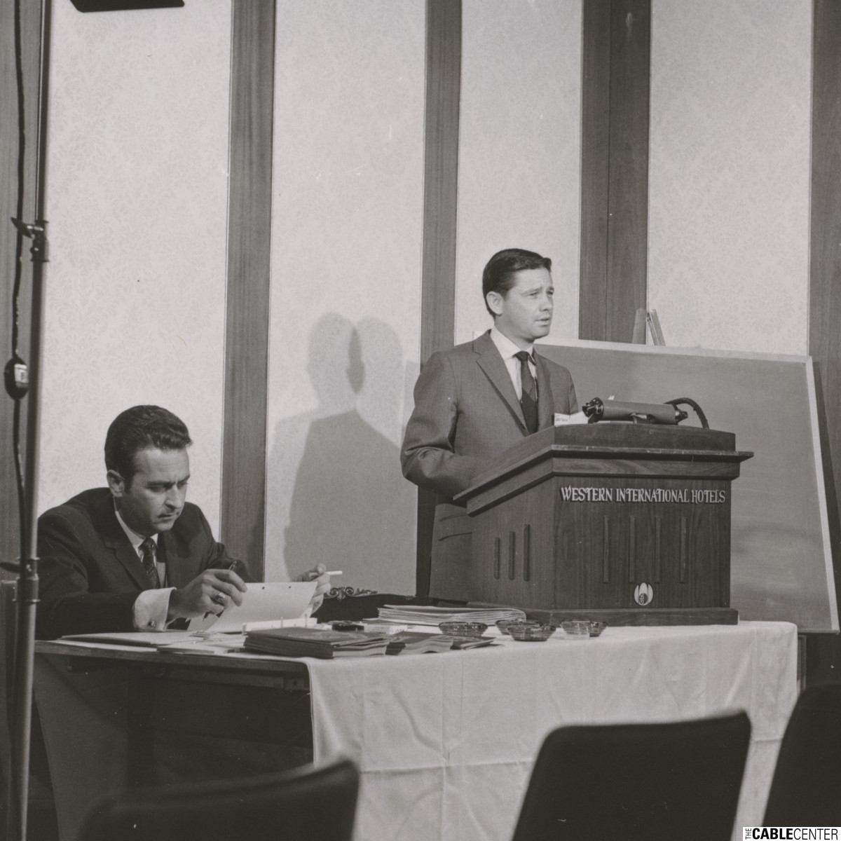 Alan Harmon speaking at the 1969 NCTA convention