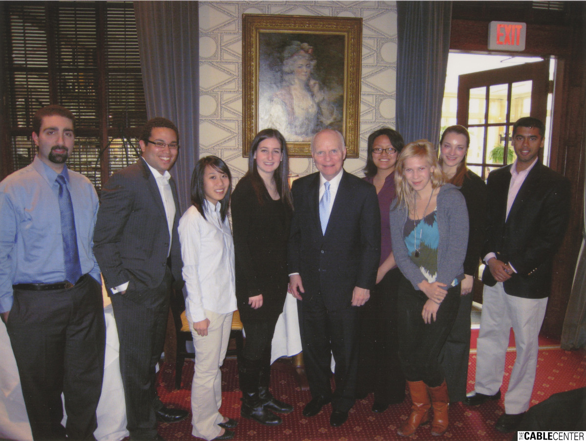 Brian Lamb with Harvard students