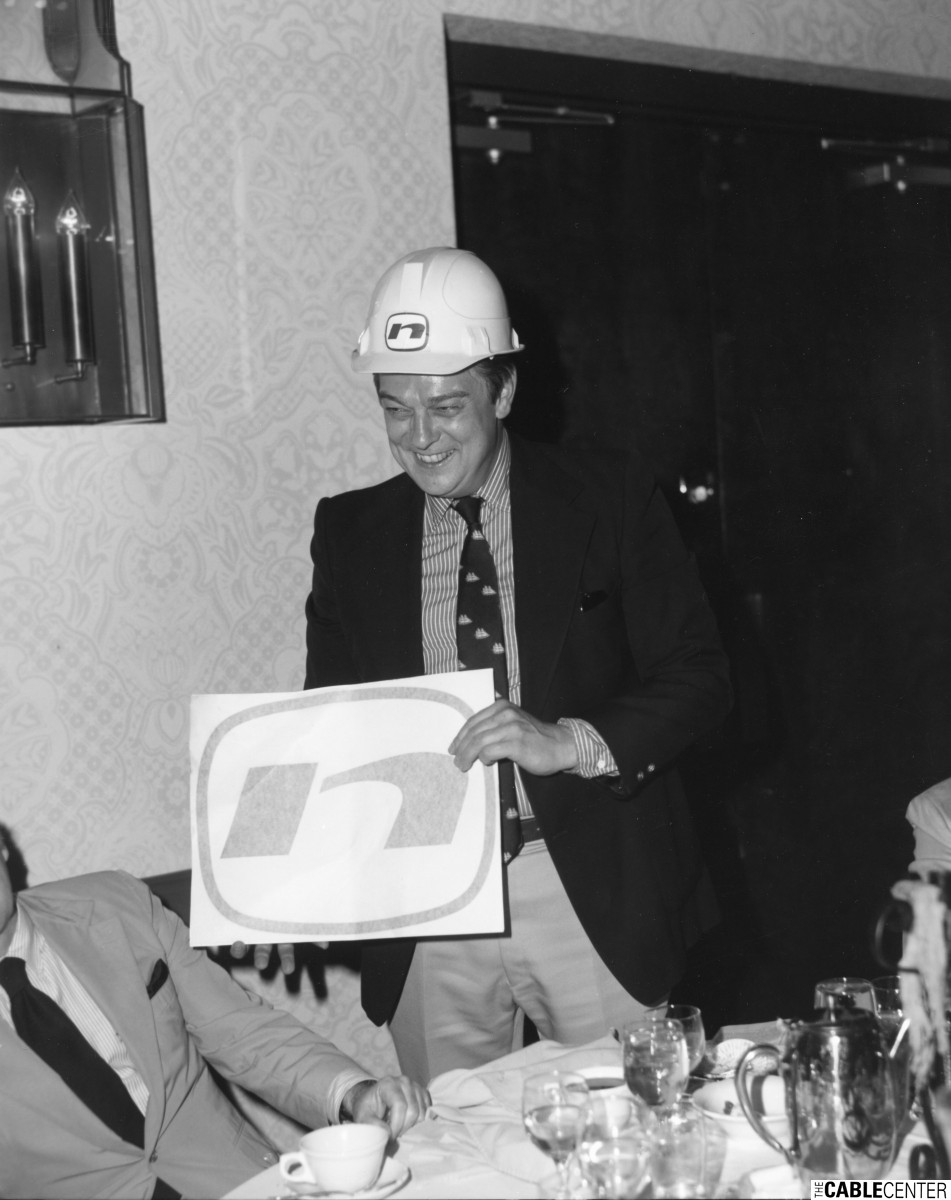 Les Read wearing hard hat at the Joel Fleming retirement party