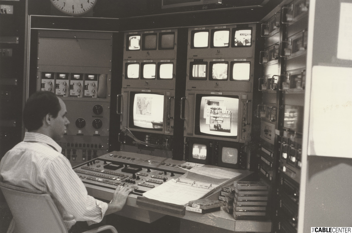 The Weather Channel's David Neal at the controls in the production studio