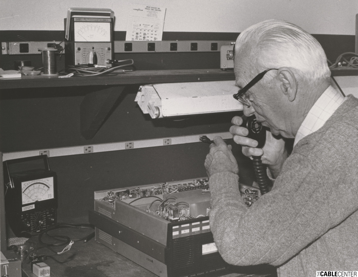 Ed Parsons at test bench