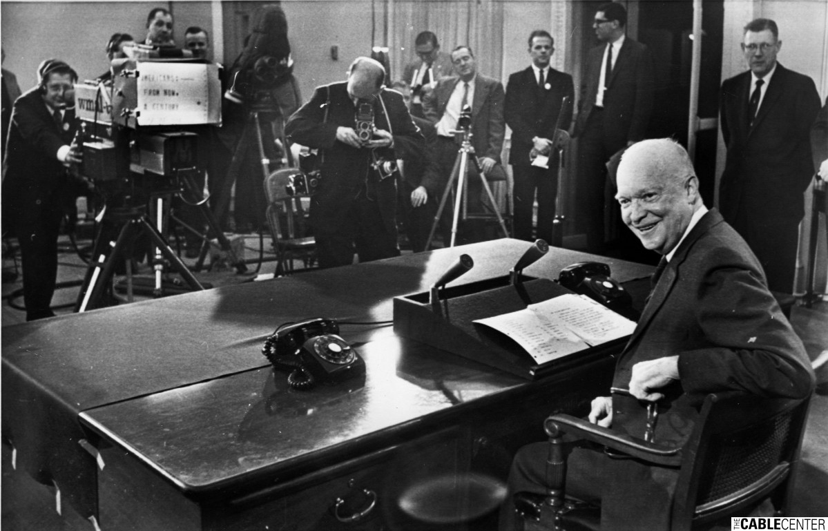 President Dwight D. Eisenhower about to give farewell address with TelePrompTer