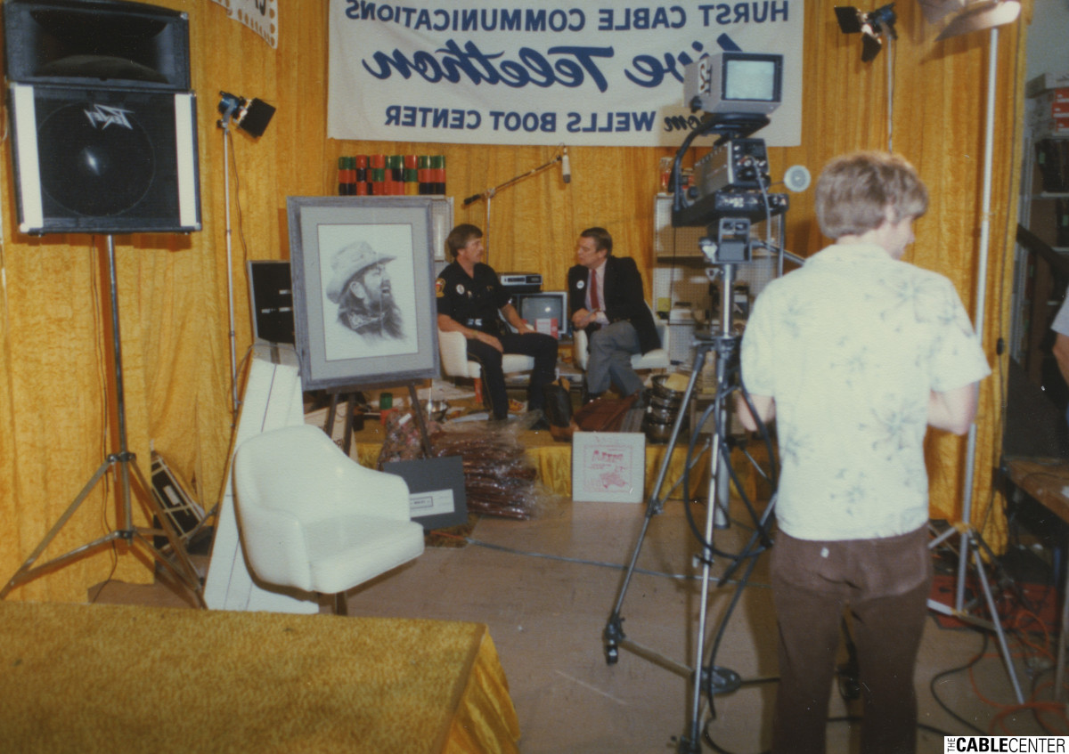 Les Read on the set of a Black Hawk Cable Communications telethon