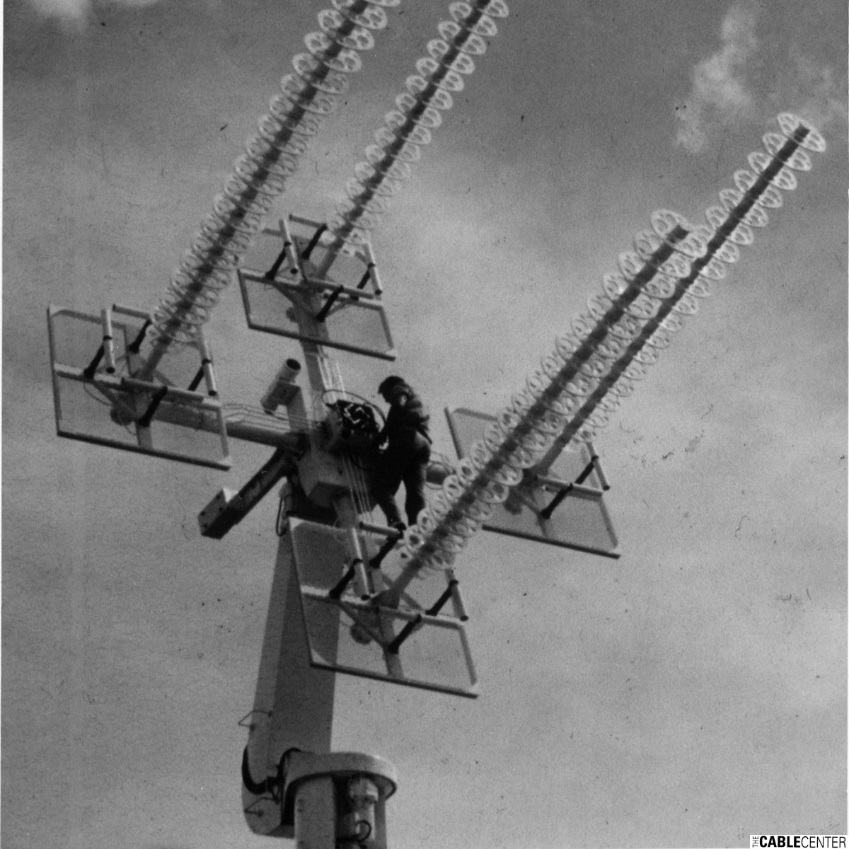 Man working on antenna array