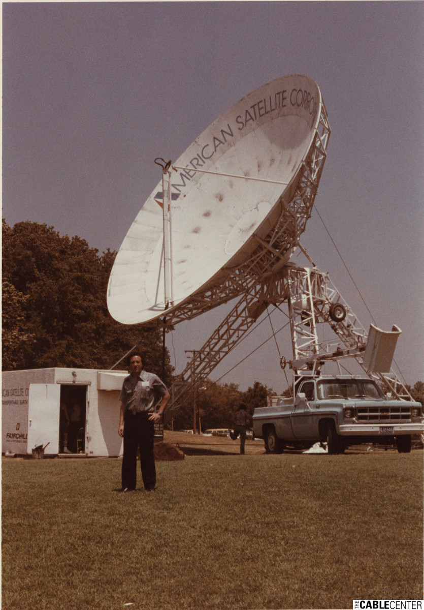 Steve Effros in front of satellite dish