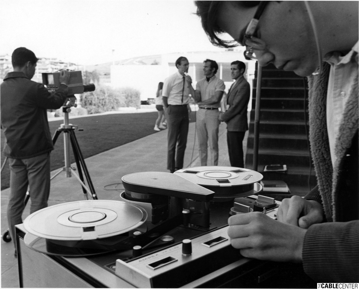 Carlmont, California High School students using Ampex videotape recorder