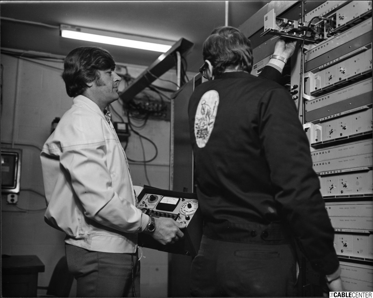 Technicians working with headend equipment, Harrisburg, Pennsylvania
