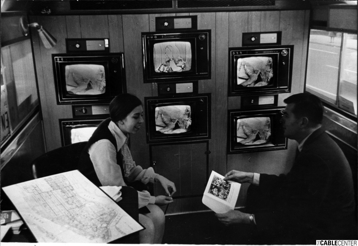 Interior of Manhattan Cable TV six-television mobile demonstration van