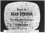"Title strip of movie ""The Searchers"" on television screen"