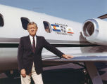 "Bill Daniels in front of his Lear jet ""Cablevision Tool"""