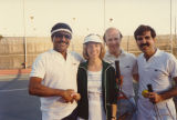 Don Anderson, Tony Cox, and Jerry Levin on tennis court, 1983.
