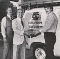 Suburban Cablevision executives Gilbert Allard and Harry Bickmann with HBO NFL Sweepstakes winner Oleh