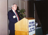 Les Read speaking at Mid-America Cable Television Association meeting and show