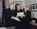 Frederick Ford and Frank Delia promote Cable TV Week with U.S. Senator Birch Bayh